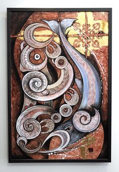 Robin Slow Kura Gallery Maori Art Design New Zealand Painting Kokowai Gold Leaf Canvas Tohora Taniwha #19