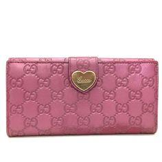 04145172052 GUCCI Shima GG Logo Pattern Heart Purple Leather Long Bifold Wallet  a184   fashion