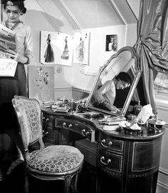 Coco Chanel in her private room at the Ritz Hotel in Paris
