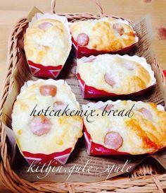 HMで簡単すぎ♪惣菜パン。ホットケーキミックスと同じ分量のヨーグルトを混ぜて出来ます