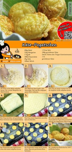 Käse-Pogatschen A delicious cheese dough makes these little rolls especially tasty! No Salt Recipes, Fun Easy Recipes, Cheese Recipes, Baking Recipes, Salty Snacks, Yummy Food, Tasty, Hungarian Recipes, Easy Cooking