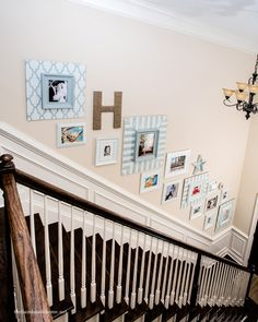 handmade home - gallery frames, stairwell tutorial - love what they have done with their home, lots of cute ideas!