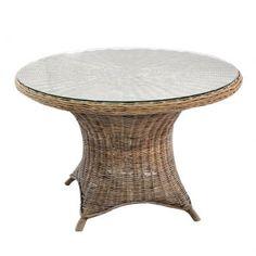 mesa de rattan com tampo de vidro
