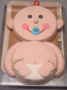 Cute baby shower cake!  Never seen one like this, made with simple cake pans. How cute it is!!!!!