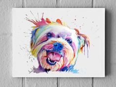 LARGE Colorful Custom Pet Portrait watercolor painting on canvas - rainbow dog or cat illustration