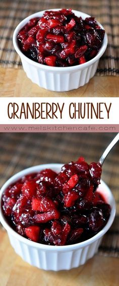 This recipe transforms boring ol' cranberry sauce to a fantastic cranberry chutney. Your Thanksgiving will never be the same. Mint Recipes, Fall Recipes, Gourmet Recipes, Holiday Recipes, Cooking Recipes, Holiday Meals, Cranberry Chutney Recipe, Cranberry Recipes, Chutney Recipes