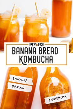 Homemade Banana Bread Kombucha With mashed bananas, brown sugar, and cinnamon, this Banana Bread Kombucha recipe is a kombucha flavor to cozy up to this winter. Fermentation Recipes, Kombucha Fermentation, Homebrew Recipes, Kombucha Brewing, Kombucha Flavors, Kombucha Recipe, Homemade Banana Bread, Make Banana Bread, Kefir