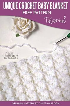 Unique Crochet Baby Blanket Pattern - learn this DIY crochet baby blanket pattern for your own heirloom baby blanket! Made with easy 3-D clusters, this unique crochet cluster stitch is as beautiful as it is easy. You can use color blocks or single color yarn for several crochet baby blanket patterns. #uniquecrochetpattern #uniquecrochetbabyblanketpattern #crochetbabyblanketpattern Crochet Baby Blanket Free Pattern, Crochet For Beginners Blanket, Afghan Crochet Patterns, Crochet Stitches, Crotchet Patterns, Knitting Patterns, Unique Crochet, Diy Crochet, Crochet Ideas