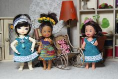 Crocheted dresses for miniature dolls by Creativhook