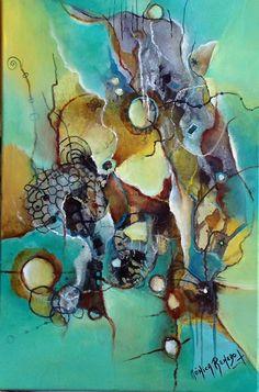 Panting Abstracto. Título. Al Borde del Alba. By Mónica Renedo. Art