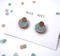 Grid Rose Gold Dot Earrings Geometric Graphic Circle by MicaPeet