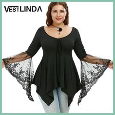 VESTLINDA Plus Size Flare Sleeve Handkerchief Tunic Top Embroidered Blouses women Clothing Fall 2017 Fashion Blusas Lace Blouse