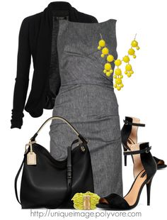 """Pop of Yellow"" by uniqueimage on Polyvore"