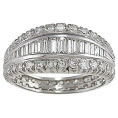 Platinum 2ct TDW Diamond Graduating Estate Eternity Band (I-J, VS1-VS2) | Overstock.com