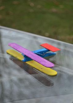 Zoom into the sky with this craft stick plane painting craft.