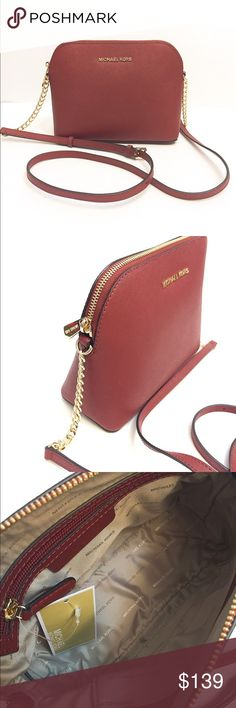 f072d88545b4fe NWT Michael Kors Cindy large dome crossbody bag Brand new with tag!!!  Color: brick. Saffiano leather. gold-tone hardware and a fully lined  interior.