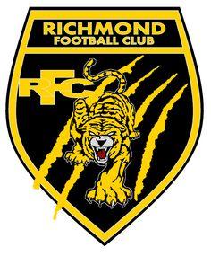 Click this image to show the full-size version. Richmond Afl, Richmond Football Club, Ferrari Logo, Porsche Logo, Football Team Logos, Sports Logos, Tiger Face Tattoo, Australian Football League, Map Of Britain