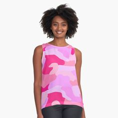 Pink Orchids, Pink Flowers, Buy Crystals, Womens Sleeveless Tops, Pink Camo, Flower Petals, Chiffon Tops, Girly, Printed