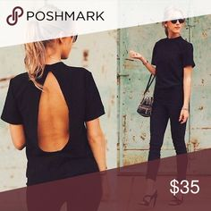 🌹🌹🆕 COOL OPEN BACK TOP🌹🌹 🌹🌹🆕  SUPER COOL BLACK SHORT SLEEVE TOP WITH OPEN BACK 🌹🌹 Tops