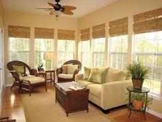 Classic Bamboo Roman Shades : Shade a bright sunroom with floor-length bamboo shades 3 Season Room, Three Season Room, Sunroom Furniture, Furniture Layout, Furniture Placement, Wicker Furniture, Wicker Chairs, Office Furniture, Furniture Ideas