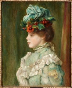 Pierre Auguste Renoir (French, - Girl with Hat with Cherries, 1880 - Oil on canvas Pierre Auguste Renoir, Impressionist Artists, Impressionism Art, Paintings Famous, Famous Artists, August Renoir, Renoir Paintings, Portraits, Claude Monet