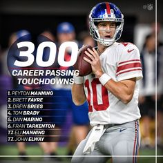 The #Giants offense may be struggling this season, but Eli Manning made history this season, becoming just the 8th QB to throw 300 TDs! #NFL #NYG #BigBlue