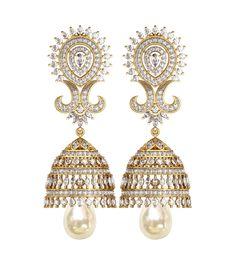 Wedding Wear, Diamond & Pearl Jhumkis from ENDEAR at JewelsLane https://www.jewelslane.com/Diamond-pearl-Jhumkis-JLE52