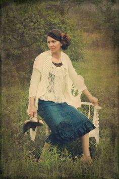 ruffled denim skirt. #apostolic