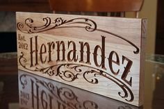 Personalized Signs: Engagement Gift Wedding Sign Last Name Sign Family Sign Wooden Sign Man Cave Business Sign Cherry 7x18 SS