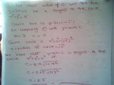 Maths: Equation of tangent to a circle for what value of ...