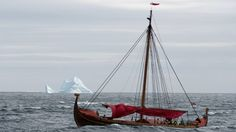 Modern age viking ship Draken Harald Harfagre ariving at Newfoundland (Vinland) in North America Viking Longboat, Viking Longship, Nordic Vikings, Viking Ship, Viking Art, Newfoundland And Labrador, Boat Building, Tall Ships, Great Lakes