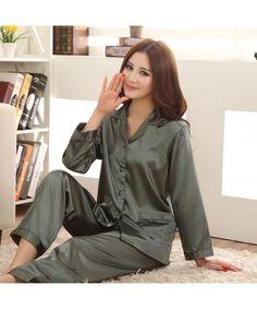 Long sleeved ice silk pajamas for ladies luxury silky nightwear female Silk Pj Set, Satin Pyjama Set, Pajama Set, Silk Sleepwear, Sleepwear Women, Nightwear, Sleepwear Sets, Lingerie Sleepwear, Pajamas For Teens