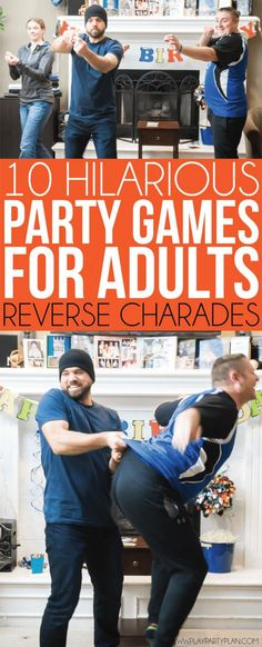 of the best party games for adults - reverse charades! One of the most funny game ideas ever. Perfect for a family reunion, Christmas party, and more! Comes with a list of free printable words to play! Funny Christmas Games, Christmas Games For Adults, Christmas Fun, Christmas Parties, Holiday Games, Holiday Drinks, Holiday Ideas, Xmas, Birthday Games For Adults