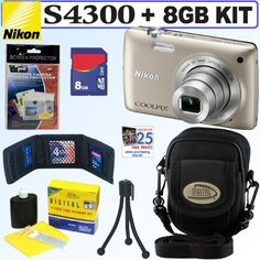 """Nikon COOLPIX S4300 16 MP Digital Camera (Silver) + 8GB Accessory Kit by Nikon. $119.95. The Nikon Coolpix S4300 Digital Camera has everything you need in a compact camera, all beautifully contained in a stylish little pocket-sized package less than 1"""" thick and weighing in at only 5 oz (139 g). Start with a serious 16MP CCD sensor for great image quality, add a sharp 6x wide-angle Nikkor 26-156mm (equivalent in 35mm format) lens and a brilliant 3"""" touch screen LCD di..."""