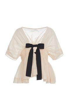 Molly Goddard Todd Smocked Cotton-Silk Tie-Back Top Love Fashion, Runway Fashion, Womens Fashion, Fashion Design, Elegant Outfit, Cotton Silk, Tie Backs, Classy Outfits, Silk Ties