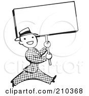 Royalty Free RF Clipart Illustration Of A Retro Black And White Man Walking With A Blank Sign