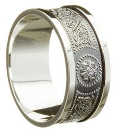 Celtic Warrior Ring inspired by an ancient Irish Treasure. 10mm wide. Available in Silver, Gold & Platinum.