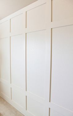 Simple board and batten DIY paneled wall tutorial! We didn't add any trim to our version so it's a little more modern for the boy's room. Bedroom Wall, Girls Bedroom, Bedroom Decor, Design Bedroom, Master Bedrooms, Dream Bedroom, Bedroom Ideas, Moldings And Trim, Board And Batten