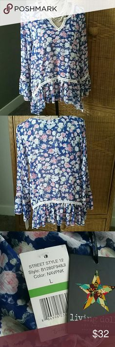 Living Doll navy flowered sheer boho style tunic This sheer top is oh so feminine.   Pretty cream banded details accent the neckline, waist and sleeves. Living Doll Tops Tunics