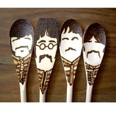 Sgt. Pepper Moustache Spoons - Wooden - Set of 4 Beatles. $30.00, via Etsy.