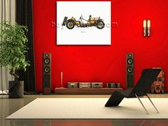 Elegant designed 1-panel giclee print on artist canvas with car in classic style. It is available in numerous sizes to fit any size room!