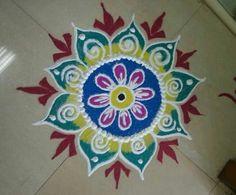 latest flower rangoli designs for diwali | HappyShappy - India's Best Ideas, Products & Horoscopes Easy Rangoli Patterns, Rangoli Colours, Free Hand Rangoli Design, Small Rangoli Design, Rangoli Ideas, Rangoli Designs Diwali, Diwali Rangoli, Rangoli Designs With Dots, Rangoli Designs Images