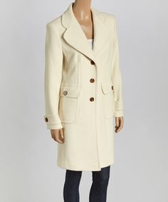 Look at this Trilogi White Notch Collar Wool-Blend Coat - Women on #zulily today!