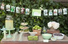 Love this simple display of pictures for a kids party.