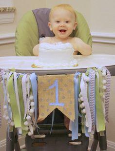 diy birthday highchair banner cake smash // Life Anchored