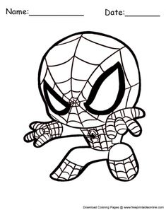 Spiderman Coloring Pages Cute Chibi Coloring Pages, Avengers Coloring Pages, Free Kids Coloring Pages, Superhero Coloring Pages, Spiderman Coloring, Marvel Coloring, Disney Coloring Pages, Chibi Spiderman, Baby Spiderman