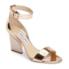 Women's Jimmy Choo Edina Ankle Strap Sandal (17,565 HNL) ❤ liked on Polyvore featuring shoes, sandals, tea rose, jimmy choo, ankle strap shoes, rose shoes, ankle strap sandals and jimmy choo sandals