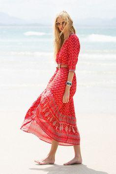 Gypsiana Maxi Dress - Red Bandana