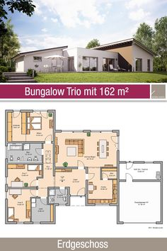 Bungalow – Grundriss – 162 m² – 4 Zimmer – Erdgeschoss The bungalow trio offers 4 rooms, open kitchen, hallway, Bungalow Floor Plans, Bungalow House Design, Modern House Design, House Floor Plans, Inexpensive Flooring, Double Garage, Flat Roof, House Architecture, Ground Floor