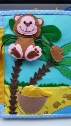 Znalezione obrazy dla zapytania monkey with banana quiet book page Diy Quiet Books, Baby Quiet Book, Felt Quiet Books, Baby Crafts, Felt Crafts, Crafts For Kids, Craft Projects, Projects To Try, Sensory Book